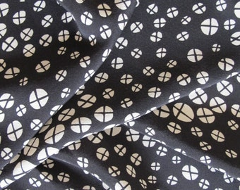100% printed silk fabric, black print on beige ground, by the yard