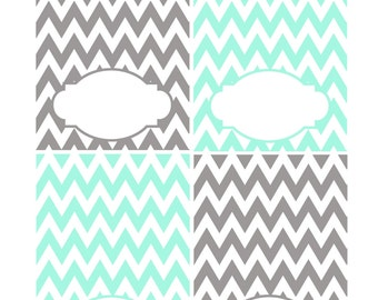 Gray and Aqua Place Card Printable Table Tent Food Labels DIY Wedding Cards Table Signs