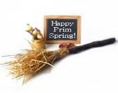 Primitive Straw Broom, Natural Vine and Jute, Prim Decor