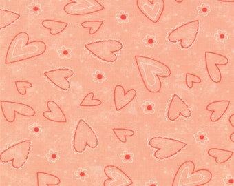 Valentine Fabric - Tossed Heart from Table for Two by Sandy Gervais for Moda Fabrics 17756 13 Rose - Remnant 24 Inch