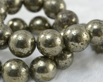pyrite big round beads - 14mm fools gold smooth round beads - pyrite chunky beads - rare large pyrite beads - pyrite beads supplies -15inch