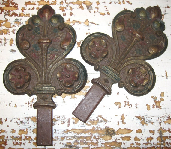Antique Finials Swing Arm Curtain Rod Finials Architectural Salvaged ...