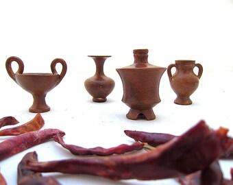 Four Greek Miniature Vases , Symposium Vases Kantharos , Amphora , Pyxis