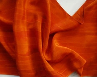 Silk Scarf Hand Painted Oranges and Reds