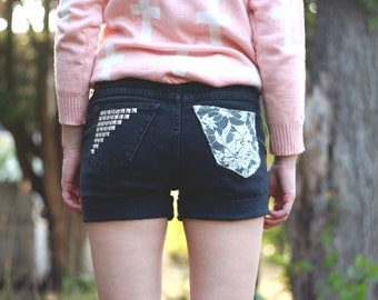 Highwaisted Lace & Studded Denim Shorts (Black)