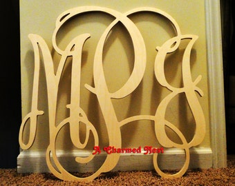 24 inch Wooden Wall Monogram Letters. Great for weddings, birthdays, gifts, nursery and home decor