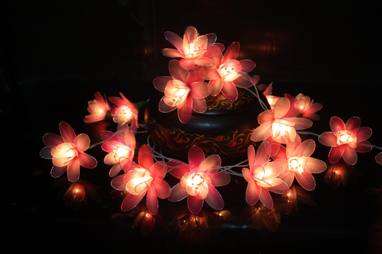 String Lights With Flowers : Fairy Lights 20 Pink Tone Flower String Lights by fairylighting