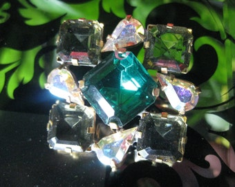 Spinning Squares Czech Glass Crystal Button in Grey and Emerald