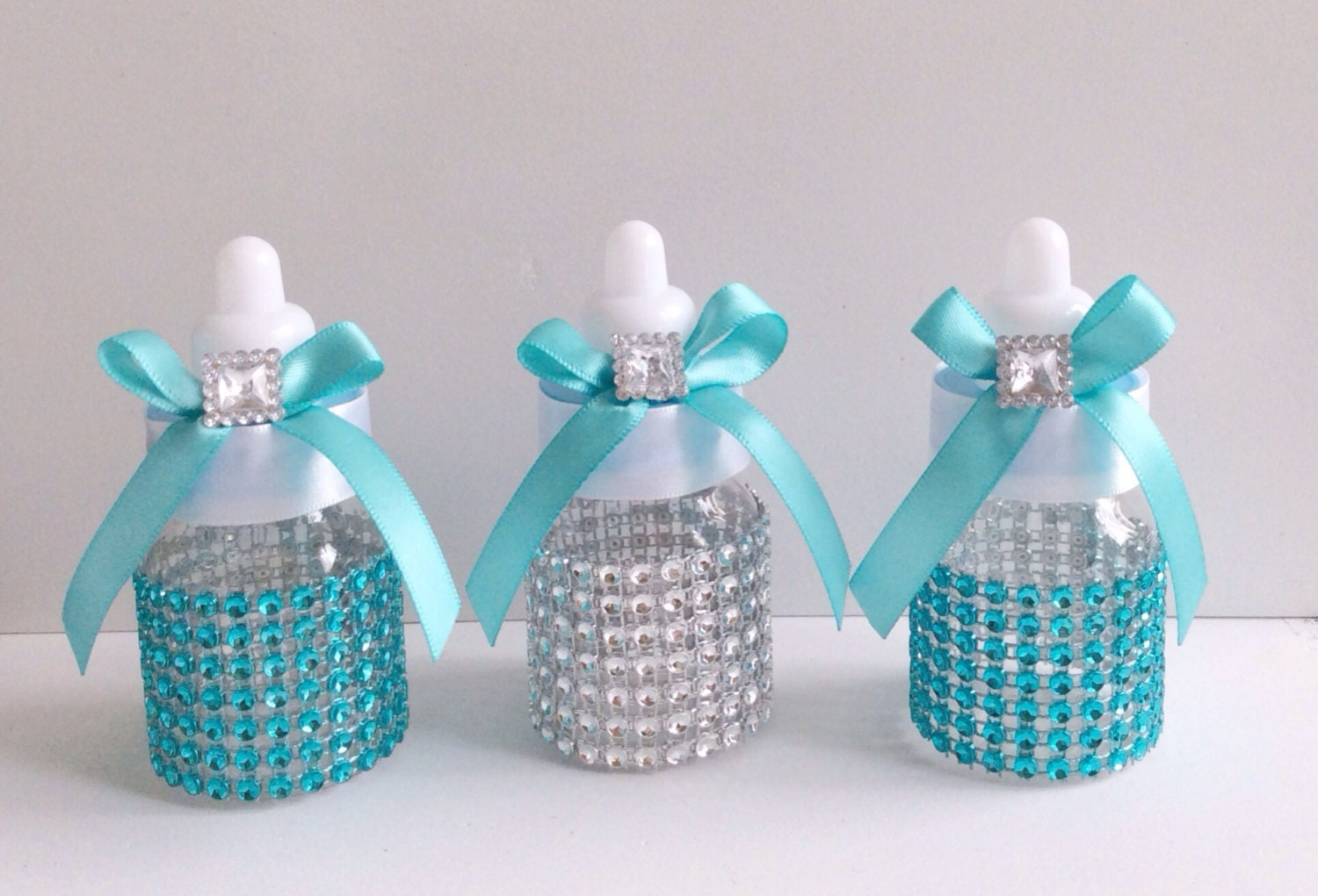 12 small 3 5 aqua and silver baby shower by marshmallowfavors