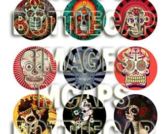 "1"" Digital Bottle Cap Images Dia de los Muertos - Day of the Dead Style Sugar Skulls and Zombie Princess"