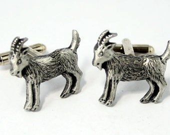 Goat Cufflinks by Hoardersworld, English Pewter, Handmade, Gift Boxed (hin)