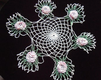 Vintage white, pink and green  crochet small round Dollie  center 12 cm , flowers 6 cm