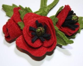 1940's Felt Flower Poppy Corsage - Pretty Posy Brooch