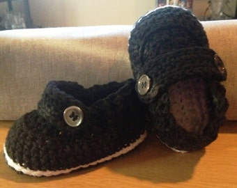 Crochet Baby Button Loafers - Made to Order
