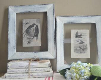 Set Of Original Framed Art Work, Linen and Glass Bird Art, Distressed Frame