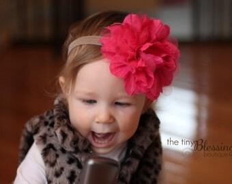 Pink Flower Headband, Gray and Pink Headband, Baby Girl Headband, Large Flower Headband, Baby Headband