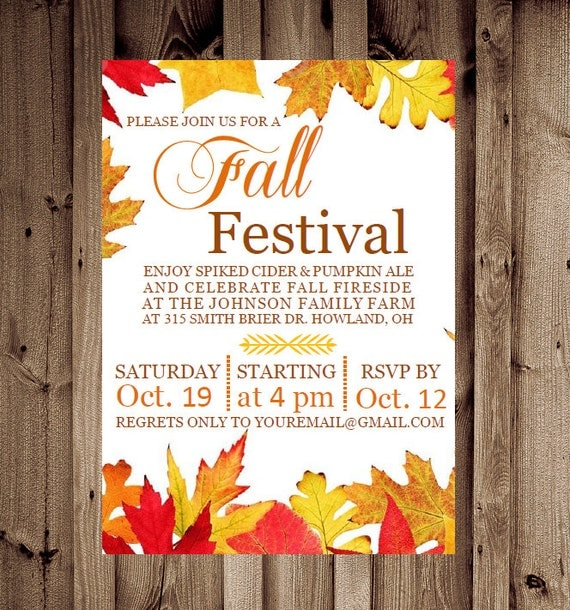 Sizzling image with regard to free printable fall party invitations