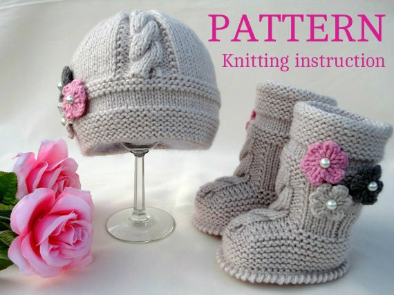 Knitting Pattern For Baby Boy Shoes : Knitting PATTERN Baby Set Infant Baby Hat Babies Baby Shoes