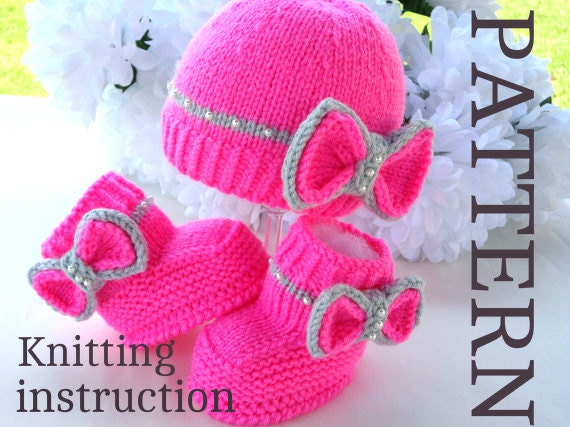 Knitting Patterns Baby Novelty Hats : P A T T E R N Knitting Baby Set Baby Shoes Knitted Baby Hat