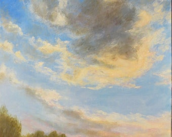 UFO Clouds Sunset Impressionist Contemporary Original Oil Painting Maine