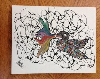 "Watercolor Wall Art ""Sagrada Familia"" Stained Glass Angel/Fairy"