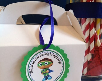 Super Why Party Tags,Favor Tags,12 Tags Ready-to Ship