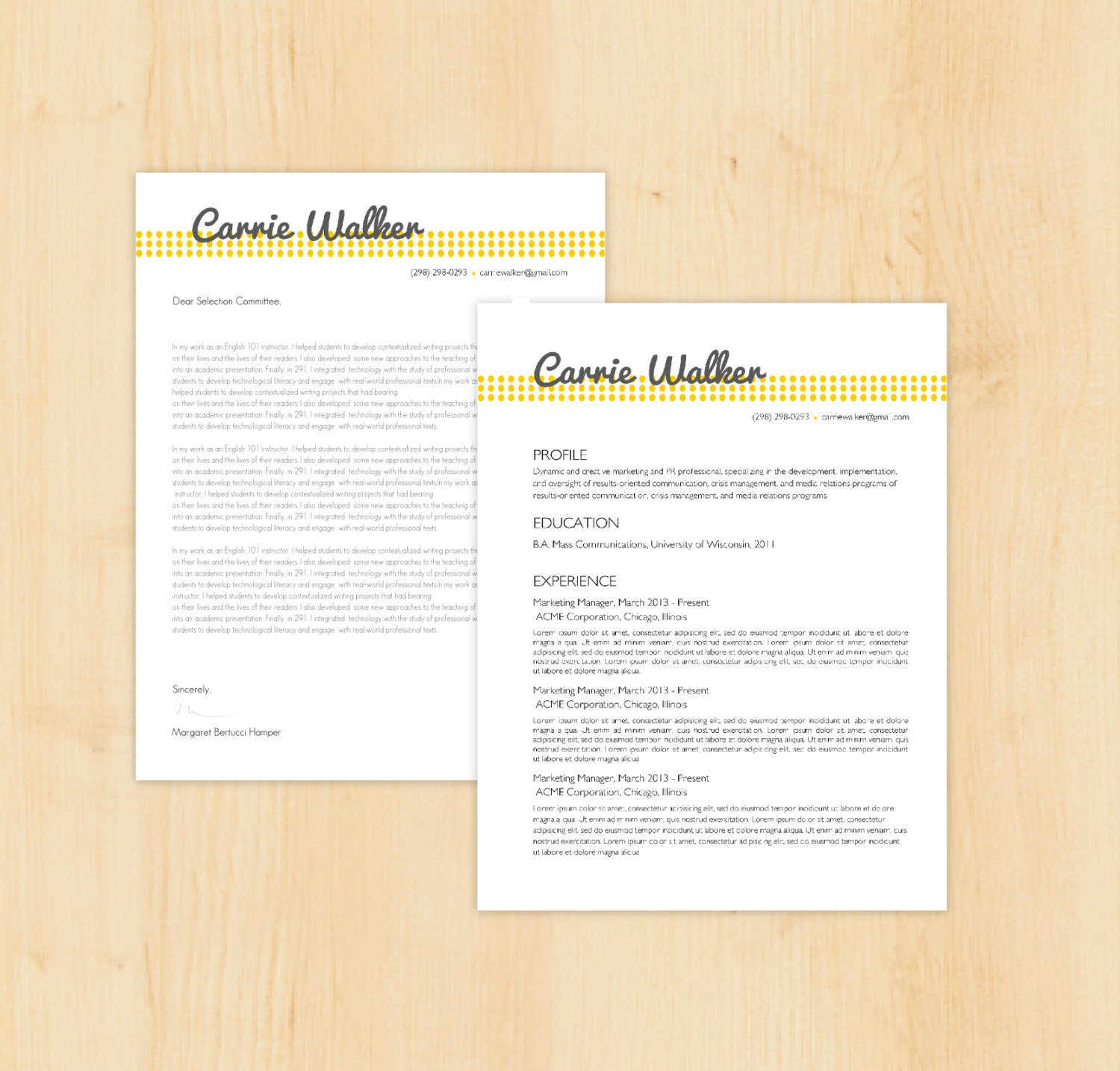 Resume Template Cover Letter Template The Sara By Phdpress: Resume Template / Cover Letter Template The Carrie By PhDPress