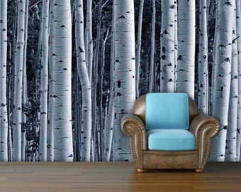 Aspen forest trees mural wallpaper,  repositionable peel & stick wall paper, wall covering
