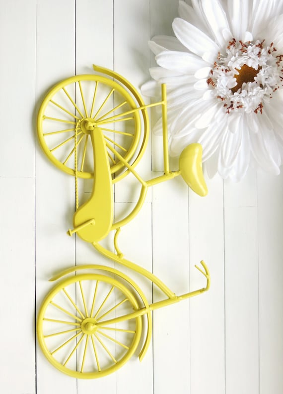 Items similar to 30 colors wall decor metal bike art for Yellow home decorations