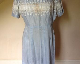 1950's Baby Blue Cotton Batiste Dress-Large