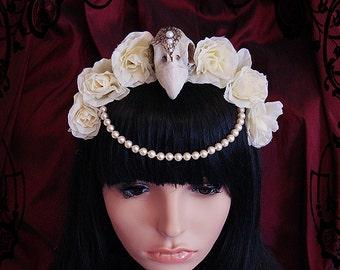 Faux Bird Skull Headdress (goth, morbid ,skull, fascinator, vegan, flowers)