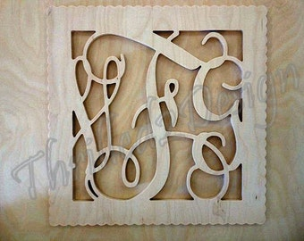 Square Scalloped Border Vine Wooden Monogram Connected Letters, Wedding, Nursery, Home
