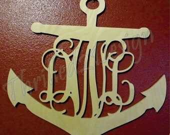 Anchor Border Vine Monogram - Laser Cut - Wedding, Nursery, Home Decor, Nautical