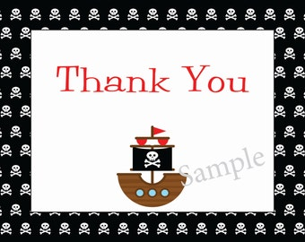 Ahoy Matey Pirate Thank You Notecard