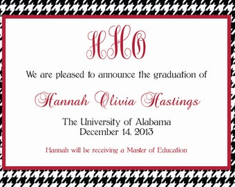 Monogram/Personalized University of Alabama Graduation Announcements