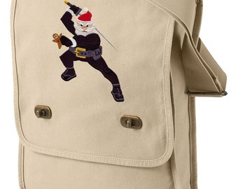 Ninja Santa Embroidered Canvas Field Bag