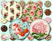 Floral Circles 1 inch - Instant Download Circles Printable download circles glass pendants 40 circles - 1 inch