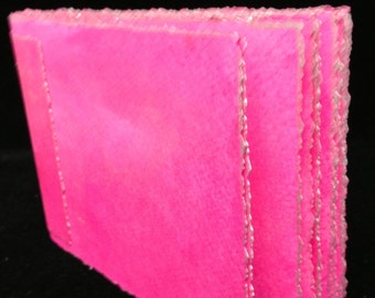 Hot Pink, Hand Bound, Hand Inked Watercolor Paper Travel Journal