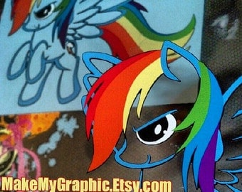 Epic Rainbow Dash Outline FULL COLOR Dashie Decal Sticker For cars or laptops