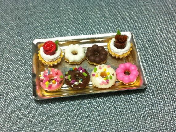 Dessert Set Miniature Clay Polymer 2 Cupcakes 6 Donuts Cake