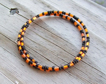 Halloween Bracelet - Black and Orange Memory Wire Bracelet - Wire Wrapped Bangle Bracelet