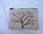 Hand stamped and embroidered small zippered tree pouch, pink