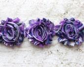SALE!!!  1 Yard Shabby Chiffon Flower Trim in Purple Rainbow - Flower Trim for Headbands and DIY supplies