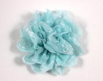 3.75 inch Chiffon Lace Flower in Aqua - Flower Head for Headbands and DIY Hair Accessories