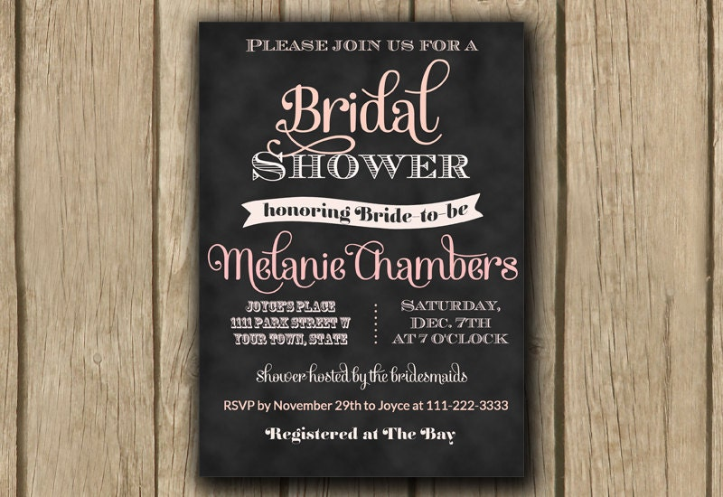 Printable bridal shower invitation chalkboard bridal shower invite printable bridal shower invitation chalkboard bridal shower invite blush ombre pink invite typography invite jpeg or pdf digital invite filmwisefo