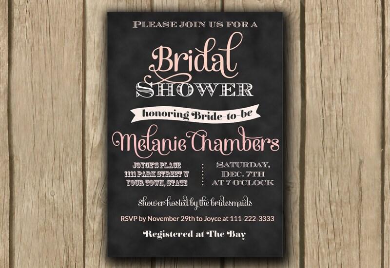 printable bridal shower invitation chalkboard bridal shower invite blush ombre pink invite typography invite jpeg or pdf digital invite onepaperheart