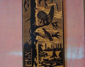 "Vintage Woodcut ""Grouse"", Art Handmade Decor, Wall Decoration, Landscape, Nature, Woodland Scenery Soviet Vintage, 1970s"
