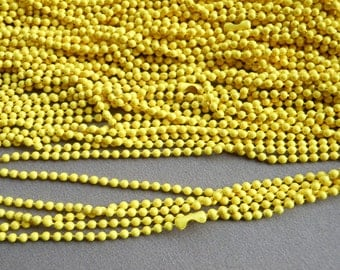 10 pcs Yellow Ball Chain Necklaces - 27inch, 2.0 mm