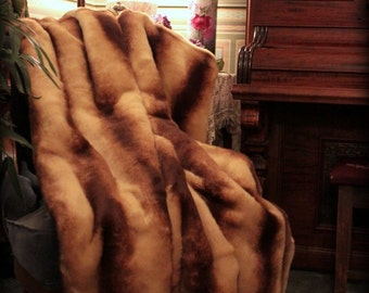 FUR ACCENTS Faux Fur Throw Blanket / Brown and Caramel Stripe CHinchilla