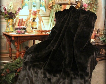 Luxurious Faux Fur  Throw Blanket - Black Chanel Mink - Ribbed - backed with Softest Minky Cuddle Fur - Fur Accents Original Designs - USA